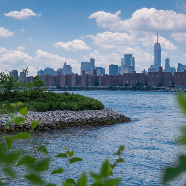 """""""Manhattan skyline and East River viewed from Hunter's Point Sout"""" stock image"""