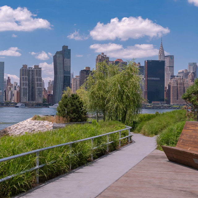 """""""Hunter's Point South Park with view of Manhattan skyline and Eas"""" stock image"""