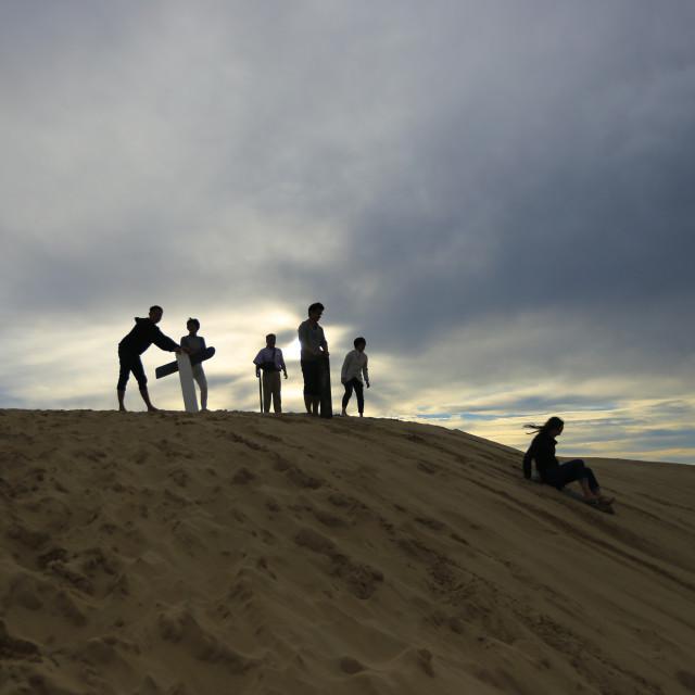"""silhouette of sand boarder in australia"" stock image"