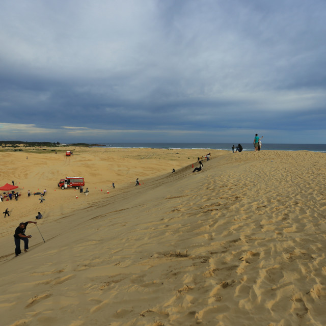 """sand boarding tour in australia"" stock image"
