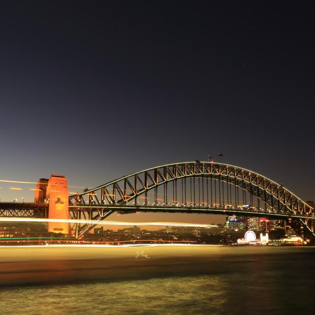 """trail light at the Harbour bridge Sydney Australia"" stock image"