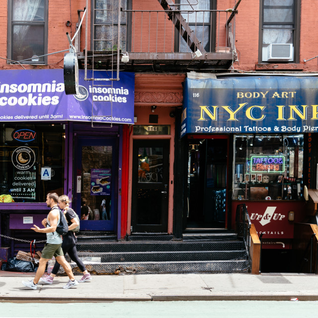 """Stores and business in MacDougal Street NYC"" stock image"