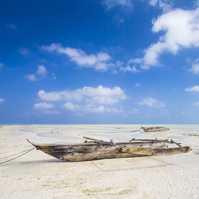 """Dhow at the beach"" stock image"