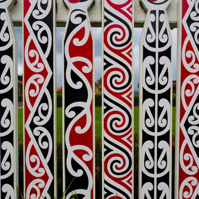 """Maori designs on a fence"" stock image"