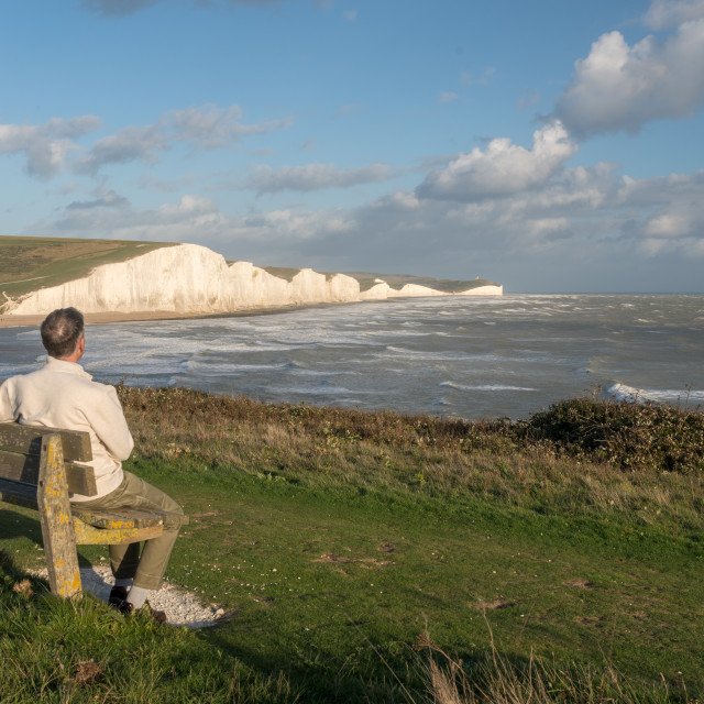 """Seven Sisters chalk cliffs on stormy day"" stock image"