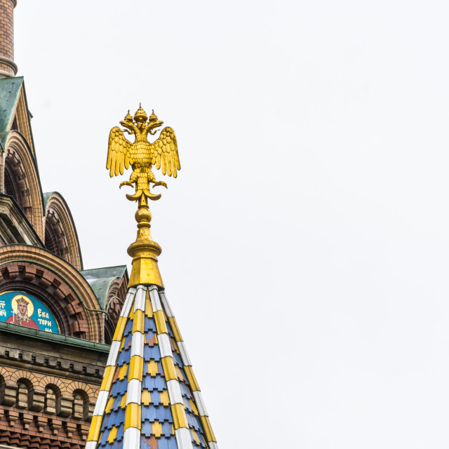 """Double-headed eagle on the tower of the Church of the Savior on"" stock image"