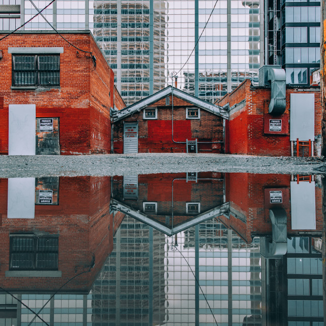 """Reflection of the Calgary Tower"" stock image"