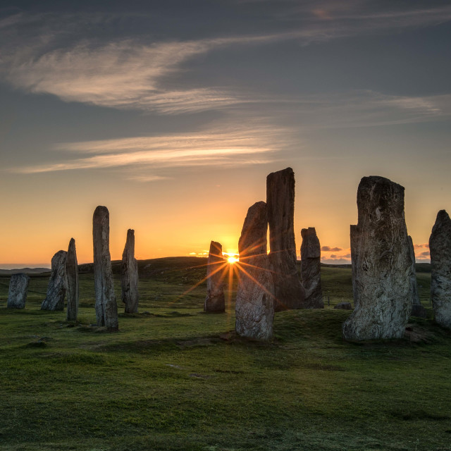 """Sunset at Callanish standing stone"" stock image"