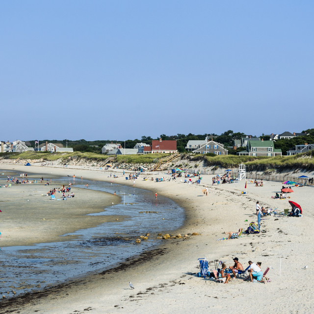 """""""Vacationers at Corporation Beach, Cape Cod"""" stock image"""