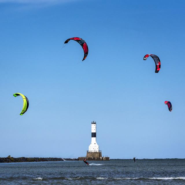 """Kitesurfing, Conneaut Lighthouse, Lake Erie, Ohio"" stock image"