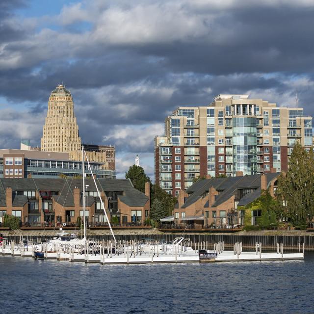 """""""Basin Marina Park and city skyline, Buffalo"""" stock image"""