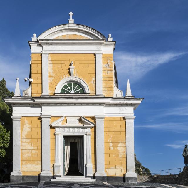 """San Giorgio church, Portofino, Liguria, Italy"" stock image"