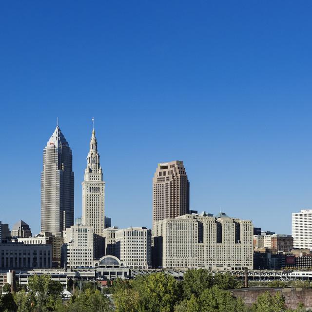 """""""City skyline, Cleveland, Ohio"""" stock image"""