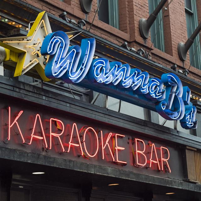 """""""Wanna B's Karaoke Bar, Nashville"""" stock image"""