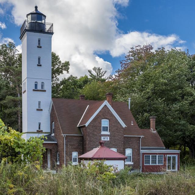 """Presque Isle Lighthouse, Lake Erie, Erie, Pennsylvania"" stock image"