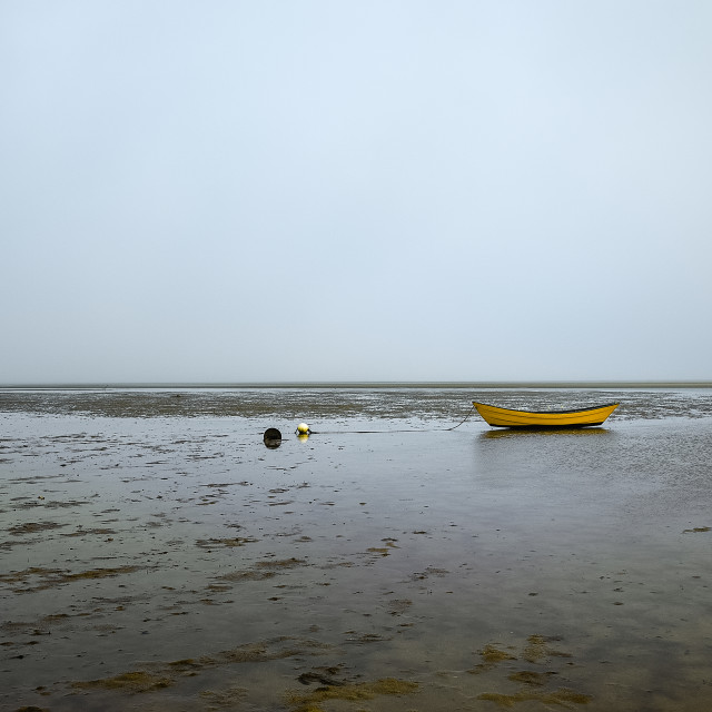 """""""Lone dory on a overcast morning, Brewster, Cape Cod, Massachusetts, USA."""" stock image"""