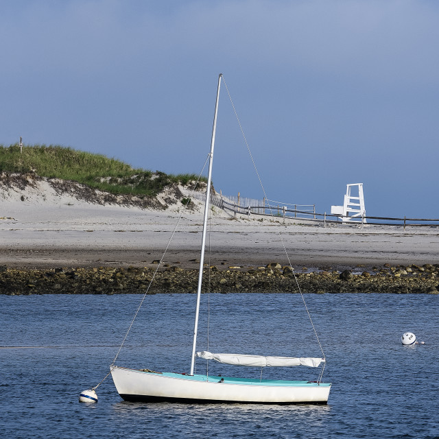 """""""Picturesque sailboat anchored at Harborview Beach, Dennis, Cape Cod"""" stock image"""