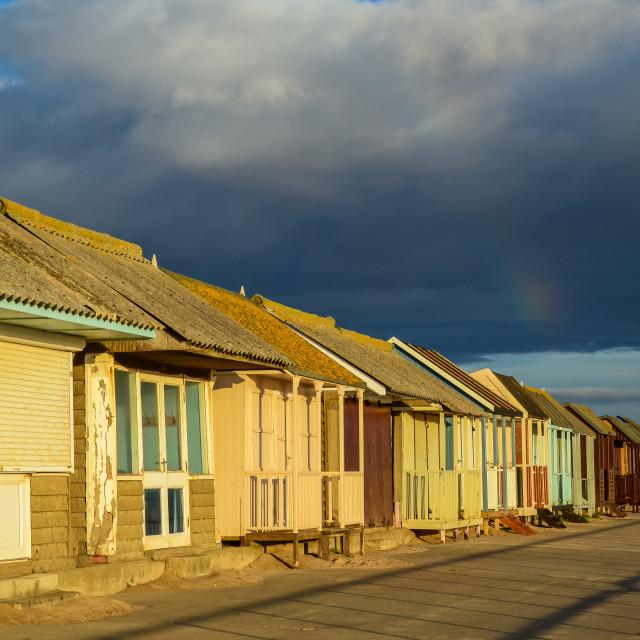 """Beach Huts at Sutton on Sea"" stock image"