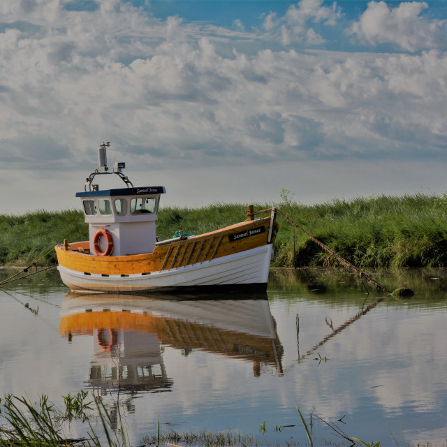 """""""Boat reflected"""" stock image"""