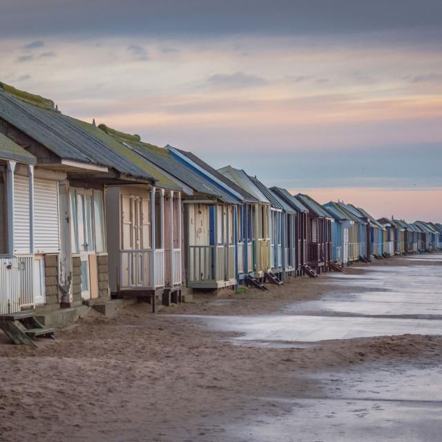 """Dawn Beach Huts"" stock image"