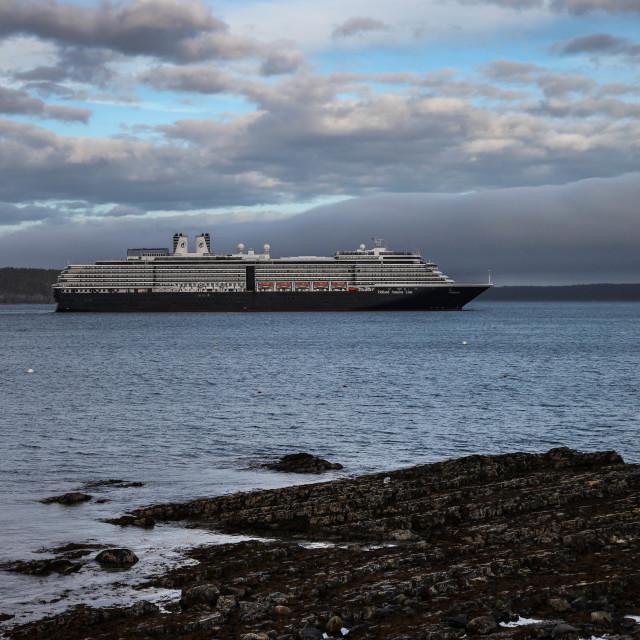 """Bar Harbor with docking cruise ship Zuiderdam"" stock image"
