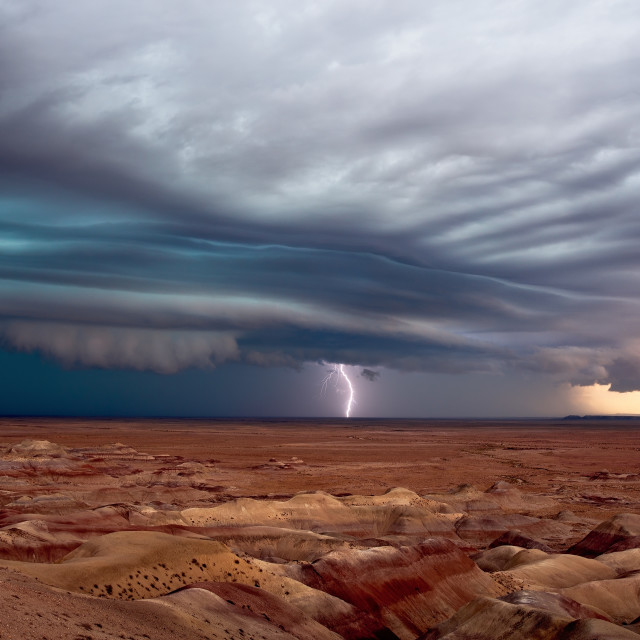 """Severe thunderstorm with shelf cloud and lightning."" stock image"