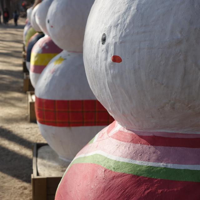 """Korean Snowman Sculpture"" stock image"