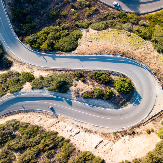 """""""Aerial view of a road curve"""" stock image"""