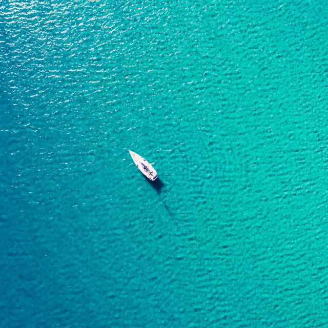 """""""Sailboat view from drone"""" stock image"""