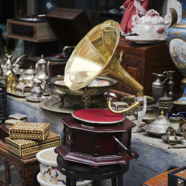 """""""Old gramophone and other antique objects"""" stock image"""