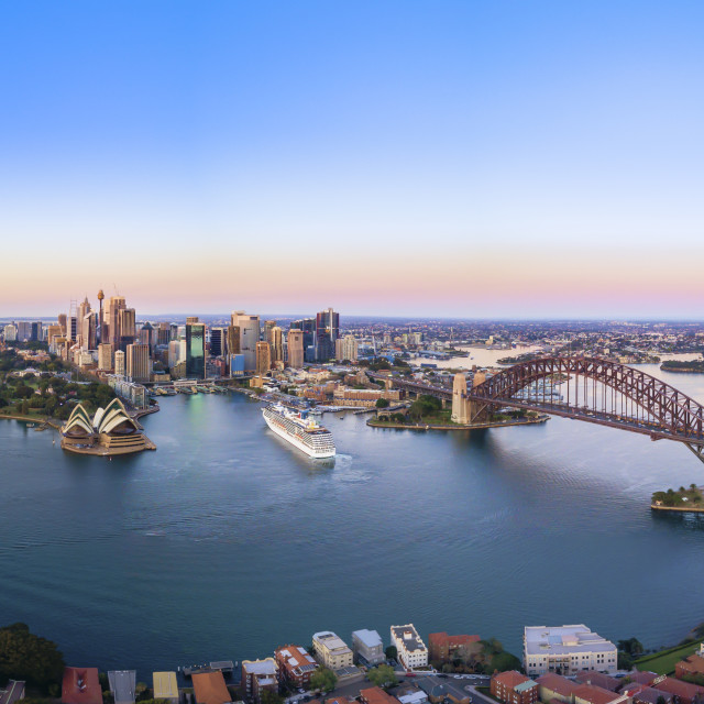 """Aerial Panoramic View of Beautiful Sunrise at Sydney City Skylin"" stock image"