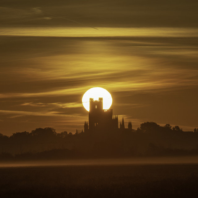 """Dawn over Ely, 25th September 2018"" stock image"
