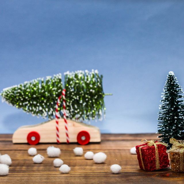 """""""Wooden car with christmas tree and gifts"""" stock image"""