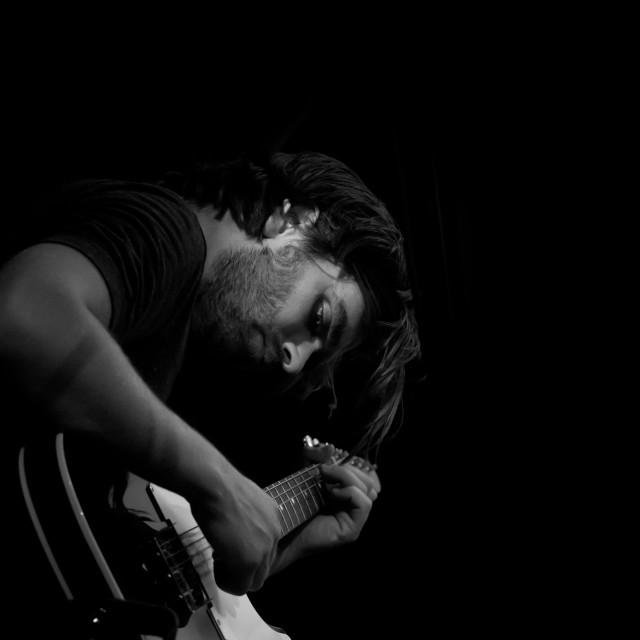 """Sorren on Electric Guitar"" stock image"