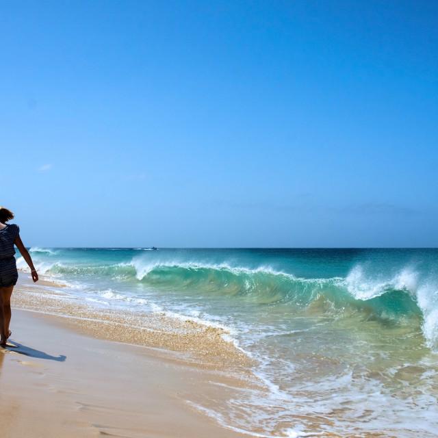 """Beach walking"" stock image"