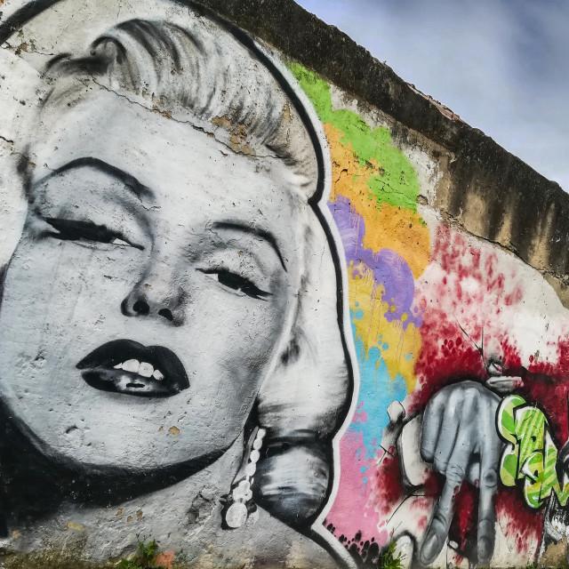 """Marilyn Monroe street art"" stock image"