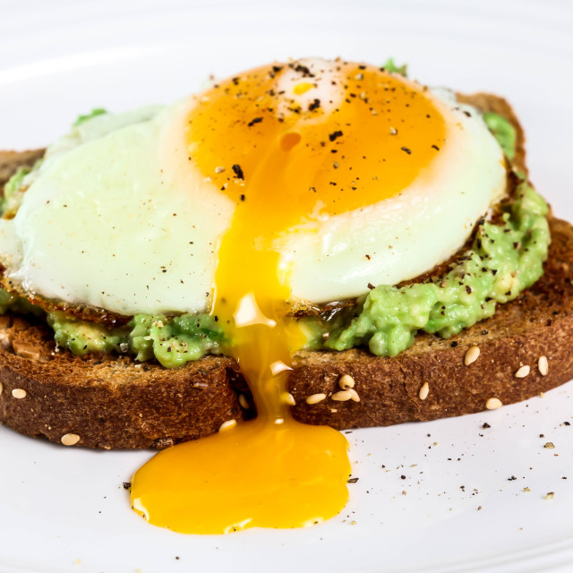 """""""Toast with avocado and egg"""" stock image"""