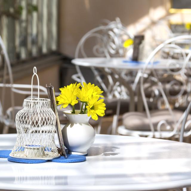 """Morning in an idyllic café"" stock image"
