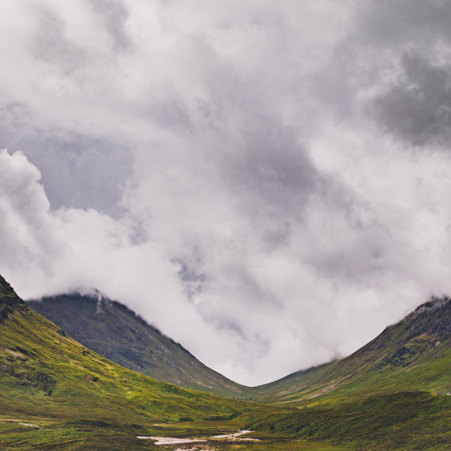 """Glencoe pass on a misty day"" stock image"