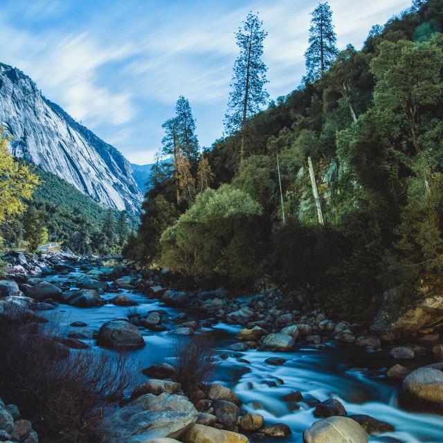 """""""Yosemite Falls Winter Night Reflection"""" stock image"""