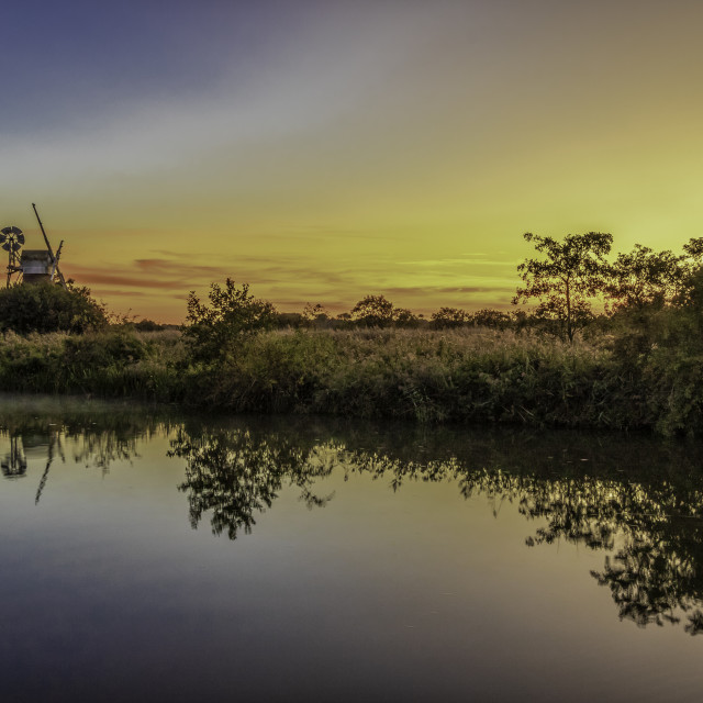 """SUNSET ON THE BROADS"" stock image"
