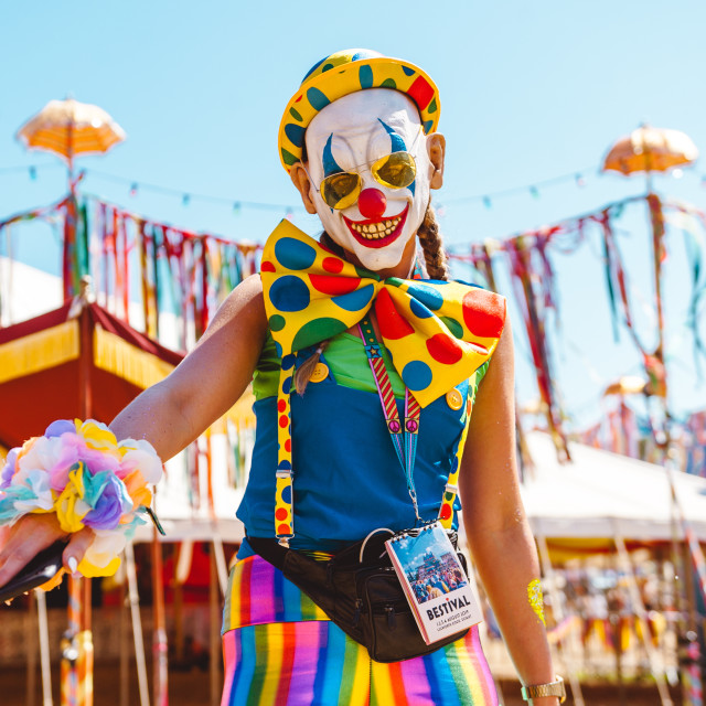 """Clowns at Bestival 2018"" stock image"