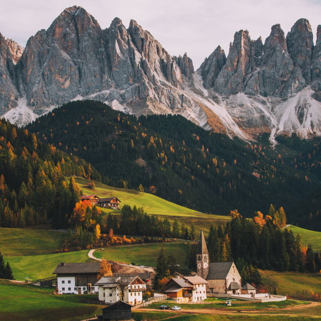 """""""Santa Maddalena (St Magdalena) village with magical Dolomites mountains in background, Val di Funes valley, Trentino Alto Adige region, Italy, Europe"""" stock image"""