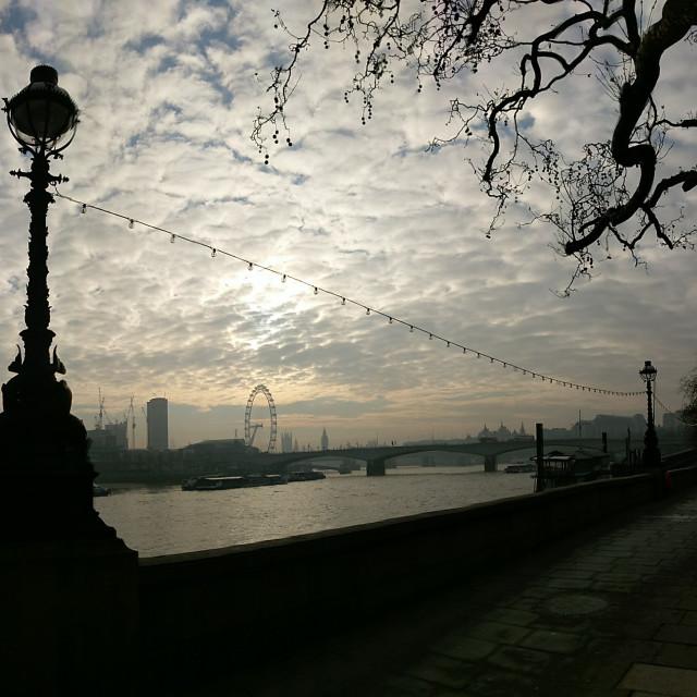 """SouthBank of London and London Eye"" stock image"
