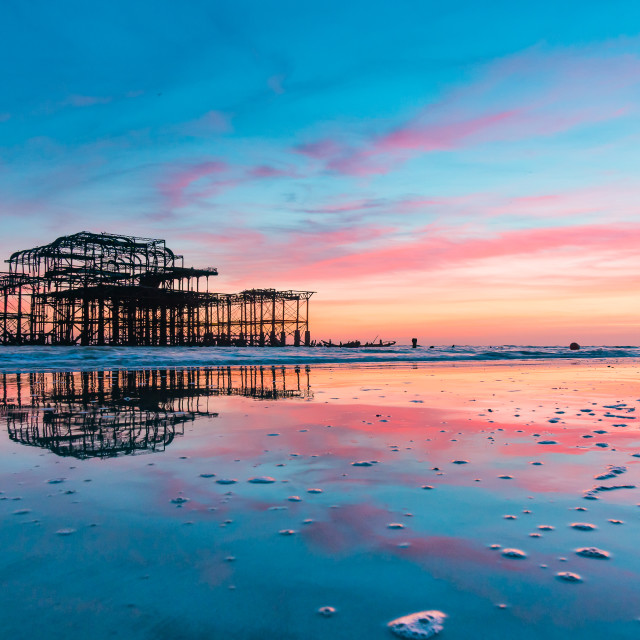 """""""Brighton West Pier at Sunset One"""" stock image"""