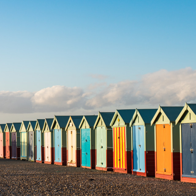"""Beach Huts in late afternoon"" stock image"