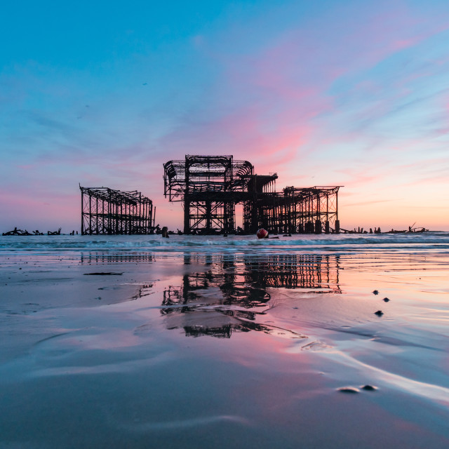 """""""Brighton West Pier at Sunset Two"""" stock image"""