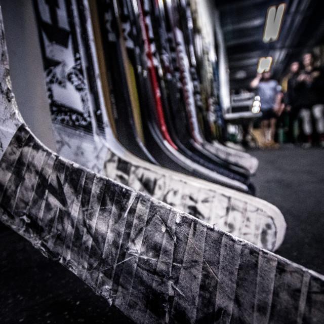"""Hockey sticks close-up"" stock image"