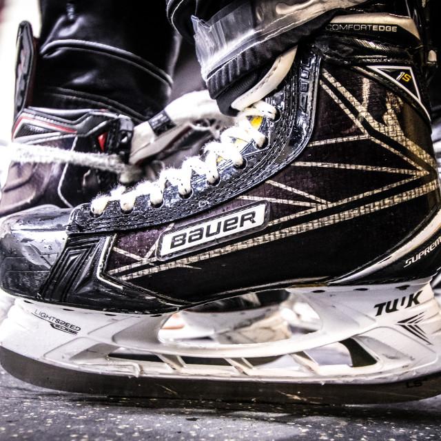 """""""Hockey skate closeup"""" stock image"""