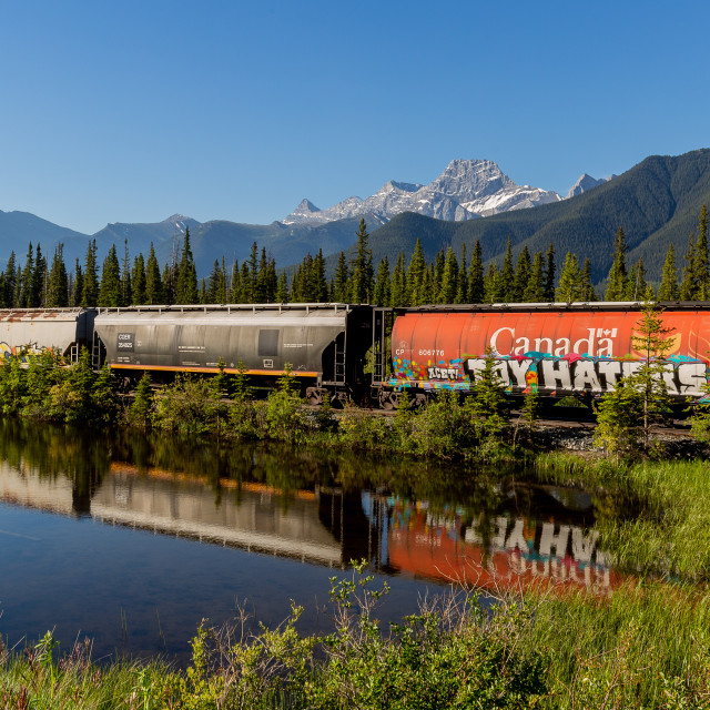 """""""Train in the Rockies"""" stock image"""